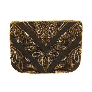 NEW Vintage La Regale Beaded Black Gold Clutch